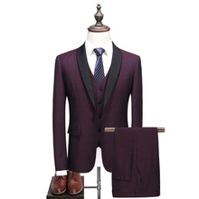 MarKyi new brand man wine red wedding suit tuxedo plus size 5xl 3 pieces suits for men slim fit