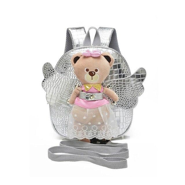 259ac2222889e Anti-verlorene Nette Engelsflügel Bär Schultaschen für Mädchen Leder Baby Kinder  Rucksack Kindergarten Taschen kinder