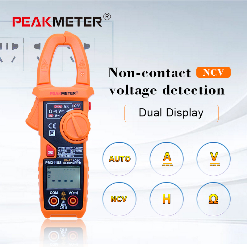 PM2118S Portable Smart  AC/DC Clamp Meter Multimeter AC Current Voltage Resistance Continuity Measurement Tester with NCV nc dc dc dc adjustable voltage regulator module integrated voltage meter 8a voltage stabilized power supply