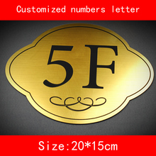цены size 20*15cm building number floor sign gold color brushed ABS Customize Numbers and letter not fade