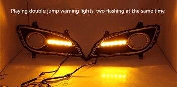 eOsuns led drl daytime running light for Hyundai Elantra 2011-2016 with yellow turn signals and blue night running light