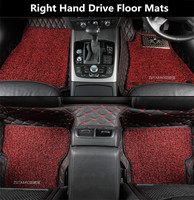 Auto Floor Mats For Land Rover Discovery LR3 LR4 LR5 Freelander 2 LR2 Right Hand Drive Embroidery Leather Wire coil 2 Layer
