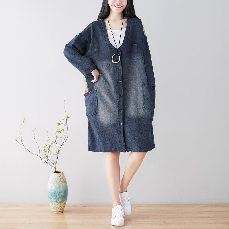 2019 female new spring plus size washed do old patchwork printing cardigan loose long section outerwear denim   trench