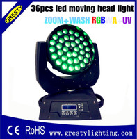 מקרה לבן 2 יח'\חבילה 36 יחידות * 18 W זום Led הזזת ראש אור DMX 512 מסך LCD 19CH RGBWAUV Led הזזת ראש אור לשטוף 90 V-240 V