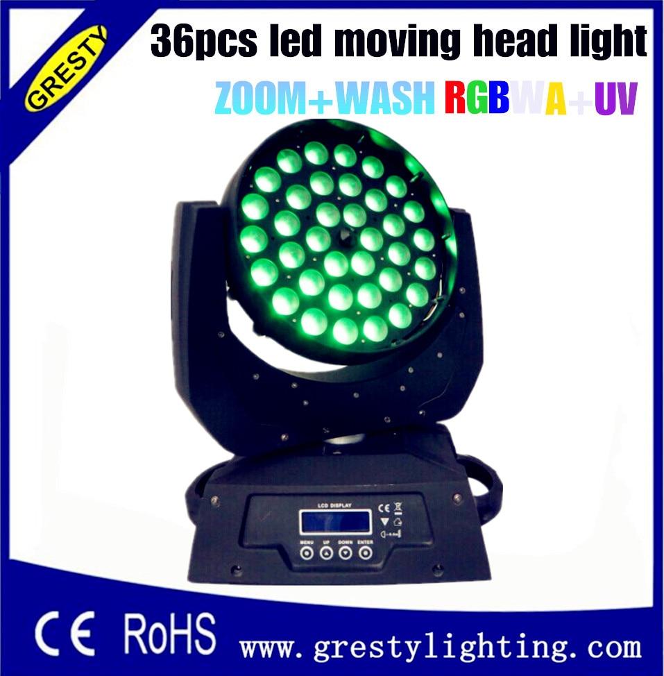White Case 2pcs / lot 36pcs * 18W Zoom Led Moving Head Light DMX 512 19CH LCD Screen RGBWAUV Led Moving Head Wash Light 90V-240V