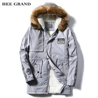 HEE GRAND Men Casual Parkas 2017 New Long Stretch Solid Letter Printed Warm Padded Winter Regular Coat Plus Size S 4XL MWM1687
