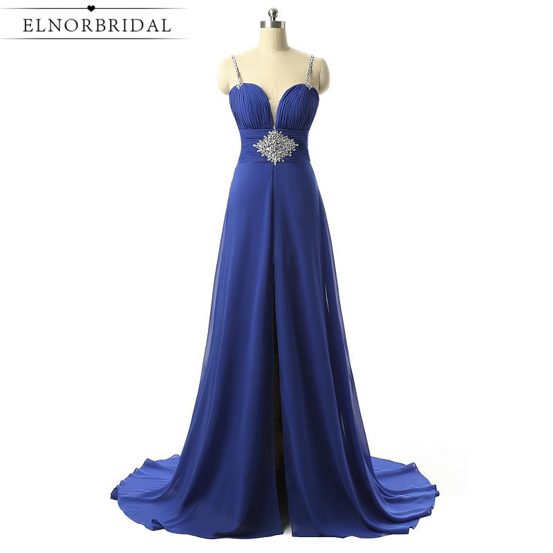 Royal Blue Prom Dresses Long 2017 Open Back Robe De Bal A Line Chiffon Special Occasion Party Dress Formal Evening Gowns