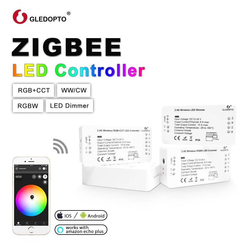 Zigbee GLEDOPTO DC12-24V RGB + CCT Controlador de LED, controlador Zigbee, automação residencial trabalhando com Eco plus, echo show, coisas inteligentes