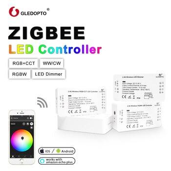 G светодиодный OPTO ZIGBEE светодиодный контроллер RGB + CCT WW/CW ZIGBEE контроллер светодиодный DC12-24V светодиодный контроллер полосы zll app контроллер RGBW ...