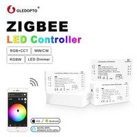 GLEDOPTO ZIGBEE Led Controller RGB+CCT WW/CW zigbee controller LED DC12 24V LED strip controller zll app controller RGBW rgb 3.0
