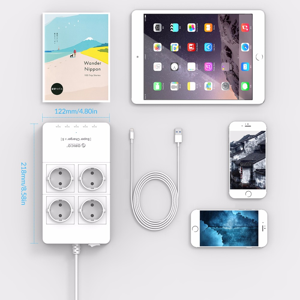 Image 4 - ORICO Surge Protection USB Charger Home appliances 4 AC EU Power  Strip1.5 Meter Power Cord with 5 Port USB Charging Stationusb  chargerpower cordcharger charger
