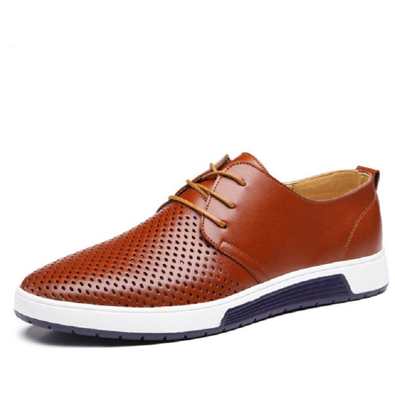 New 2017 Summer Brand Casual Men Shoes Mens Flats Luxury Genuine Leather Shoes Man Breathing Holes Oxford Big Size Leisure Shoes pjcmg high top italian luxury brand casual mens dress shoes genuine leather design flats for men party size 6 10