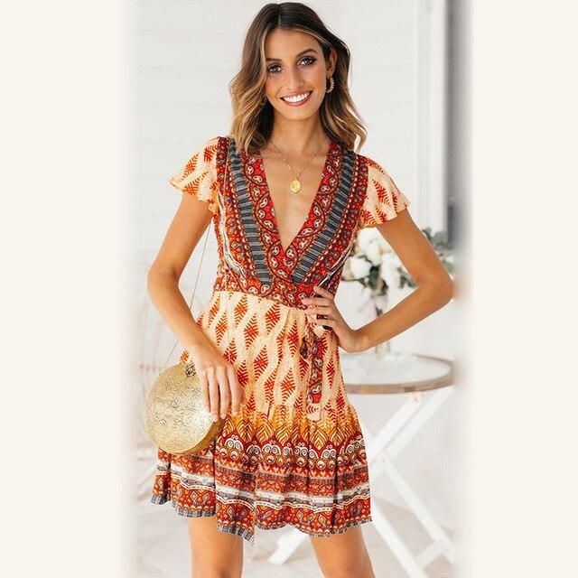7dfa868179b 2019 New Summer Dress Fashion Trendy Casual Sexy Bohemian Beach Large Size  Slim Print V Collar Short Sleeve Dresses Women ZW147