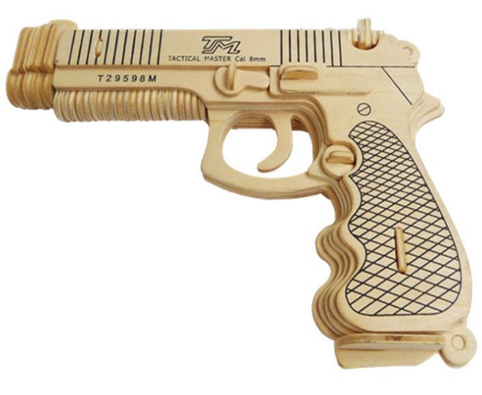 Моделирование пистолет игрушка модель 3d трехмерные деревянные головоломки игрушки для детей Diy ручной работы деревянные пазлы