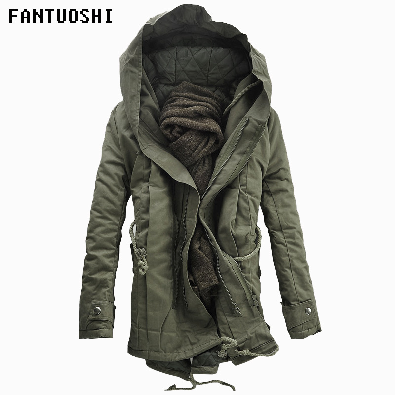 2018 New Men Padded Parka Cotton Coat Winter Hooded Jacket Mens Fashion large size Coat Thick Warm Parkas Black army green 6XL-in Parkas from Men's Clothing    1
