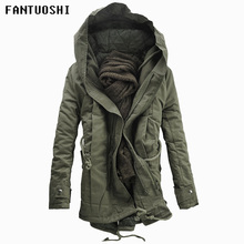 2018 New Men Padded Parka Cotton Coat Winter Hooded Jacket Mens Fashion large size Thick Warm Parkas Black army green 6XL