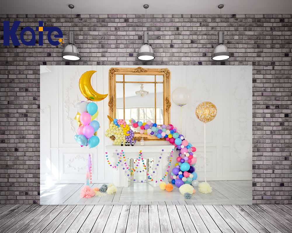 KATE 5x7ft Photo Background New Born Baby Photo Birthday Backdrop Anniversaire Licorne Children Balloon Backdrop for Studio kate photo backdrop beach baby