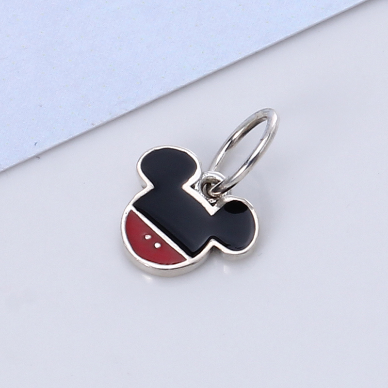 New 100% 925 Sterling Silver Fit Original Pandora Bracelet Enamel Mickey Pendant DIY Charms Beads for Jewelry Making Gift