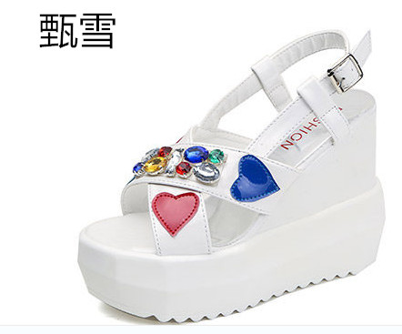 2017 New Female High-heeled Sandals In Summer With Thick Slope Toe Platform Waterproof Word Buckle Flower Cool Boots