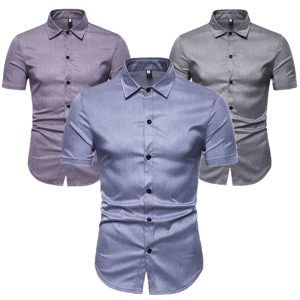 Man Shirt Casual Trun-Down Collar Short Sleeve Shirt Solid Cotton Blend Shirt Leisure Male Tee Clothing Fashion Men's Tops D40