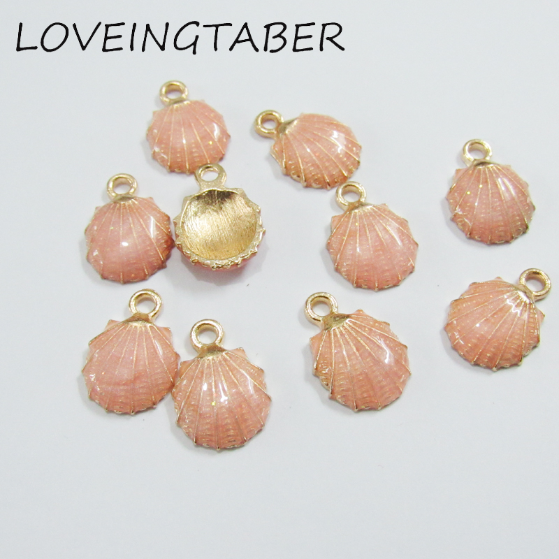 15mm 13mm 30pcs lot Gold Color With Pink Glitter Enamel Seashell Small  Charms-in Charms from Jewelry   Accessories on Aliexpress.com  f6ee5078132f