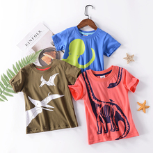 Summer new short sleeved cotton medium and young childrens positive negative pattern T-shirt printed Jersey