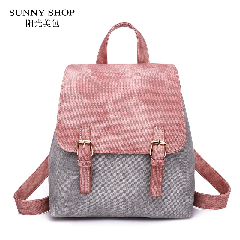 SUNNY SHOP Matte Washed PU Leather Backpack Women Small Waterproof Casual Backpack School Rucksack Girls Bags Over The Shoulder sunny shop new flower women drawstring backpack fashion school lady casual print backpack high quality pu leather school bag