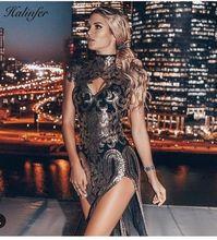Halinfer 2019 new summer sexy women top QualityTurtleneck Sequine Bifurcated bandage dress evening party mini vestidos