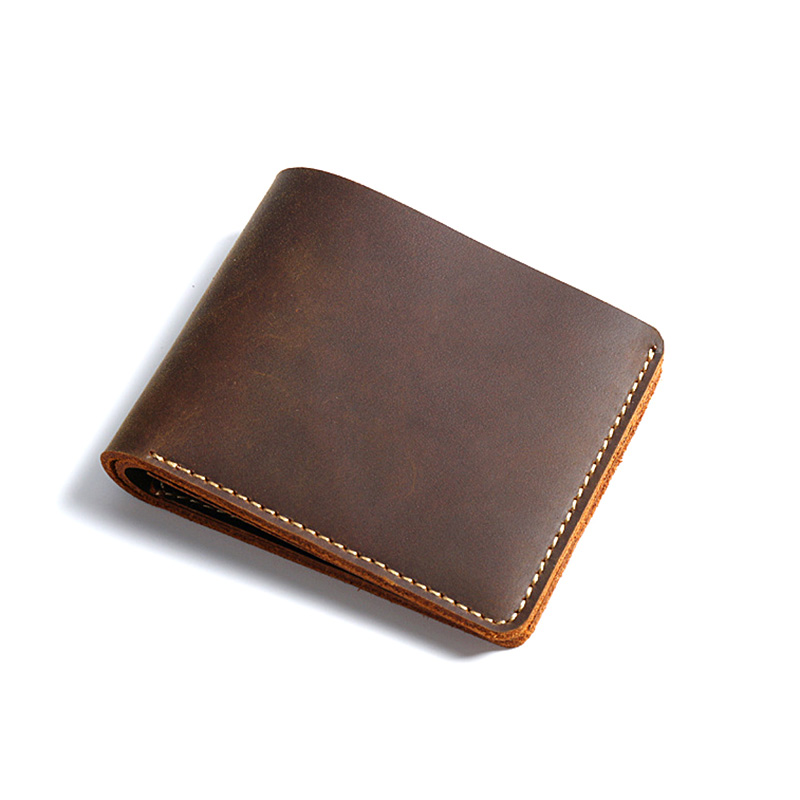 4be828b7e271 US $9.29 41% OFF|Handmade Genuine Leather Men Wallets Small Fashion Wallet  Men Brief Designer Men Leather Wallet Portomonee-in Wallets from Luggage &  ...