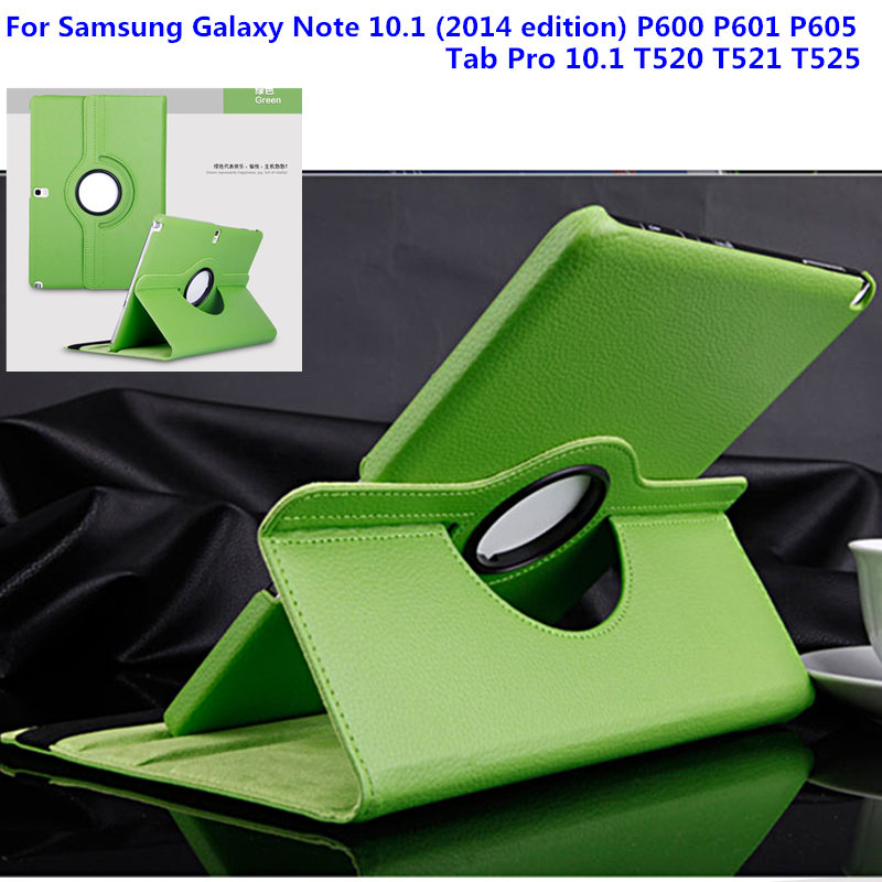 PU Leather Cover Case for Samsung Galaxy Note 10.1 2014 Edition  P600 p605 P601 / Tab Pro T520 T521 t525 Tablet Rotating Style