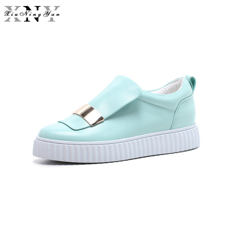 XiuNingYan Women Flats Casual Shoes Woman Sneakers Genuine Leather Loafers Shoes Spring Autumn Fashion Platform Luxury Shoes cangma original newest woman s shoes mid fashion autumn brown genuine leather sneakers women deluxe casual shoes lady flats