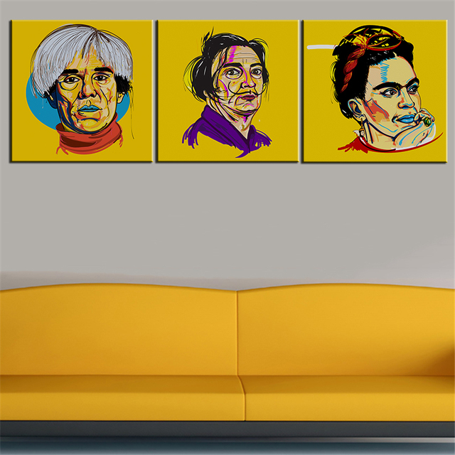 3 Stücke Druckölgemälde Andy Warhol Salvador Dali Frida Kahlo Selbst