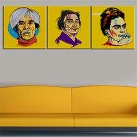 3 sztuk Drukuj Obraz Olejny Salvador Dali andy warhol Frida Kahlo siebie malowanie ścian Pop Obraz Sztuki Na Ścianie Salonu Bez Ramki
