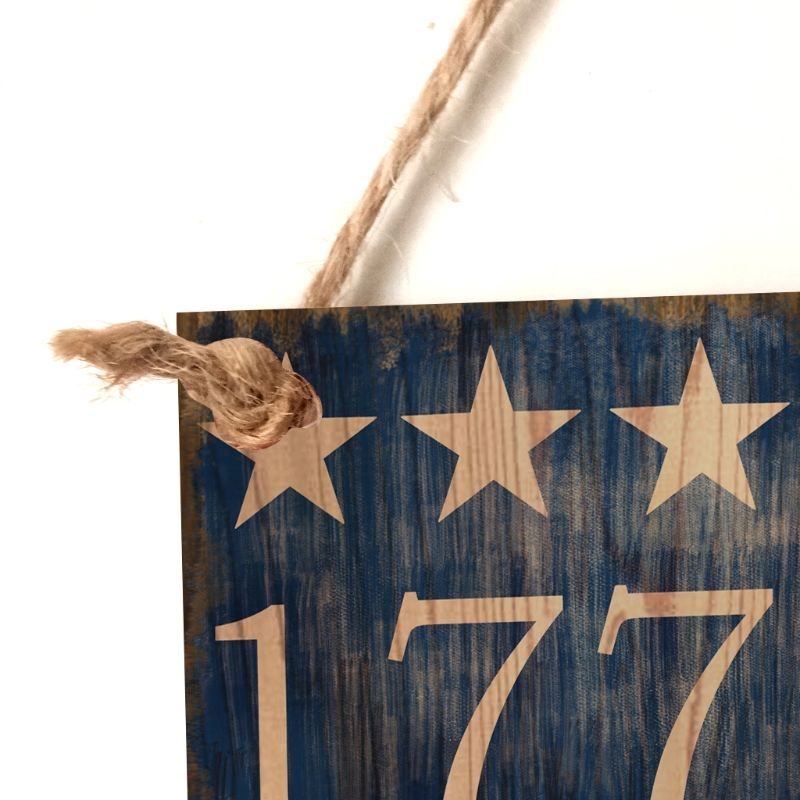 Image 4 - Vintage Wooden Hanging Plaque 1776 Sign Board Wall Door Home Decor Independence Day Party Gift-in Plaques & Signs from Home & Garden