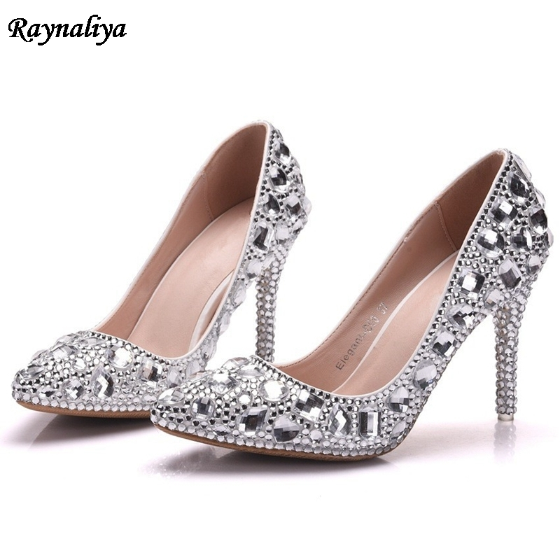 Crystal Women Wedding Shoes Bridal Evening Party Sliver