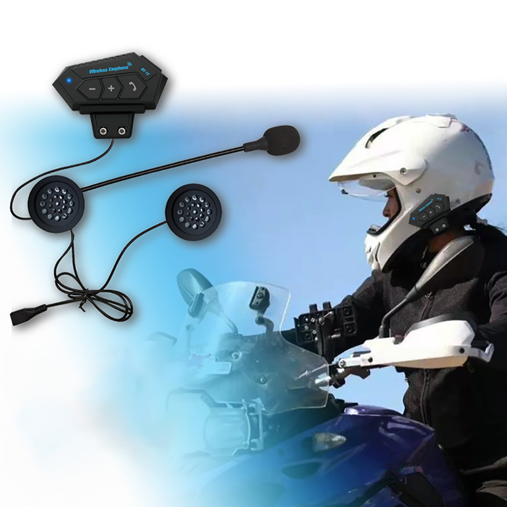 Portable Helmet Bluetooth Headset BT-12 With Microphone Music Soft Motorcycle Interphone Outdoor Riding Long Standby Hands Free#