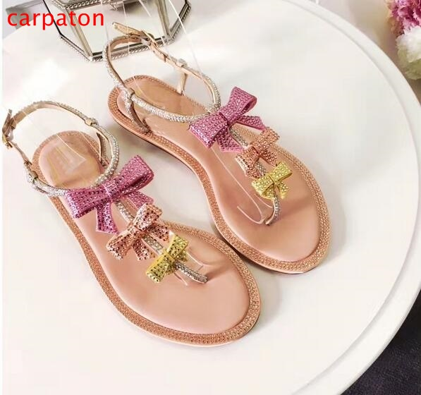 771f1682bd4 Charming Fairy Shinny Crystal Summer Women Flats Sandals Sweet Butterfly  Knot Candy Colors Sexy Weeding Dress Drilled Shoes -in Women s Sandals from  Shoes ...