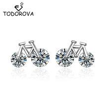 Todorova adorável zircon cúbico brincos biker bonito minúsculo bicicleta brincos para presentes femininos cristal orelha jóias