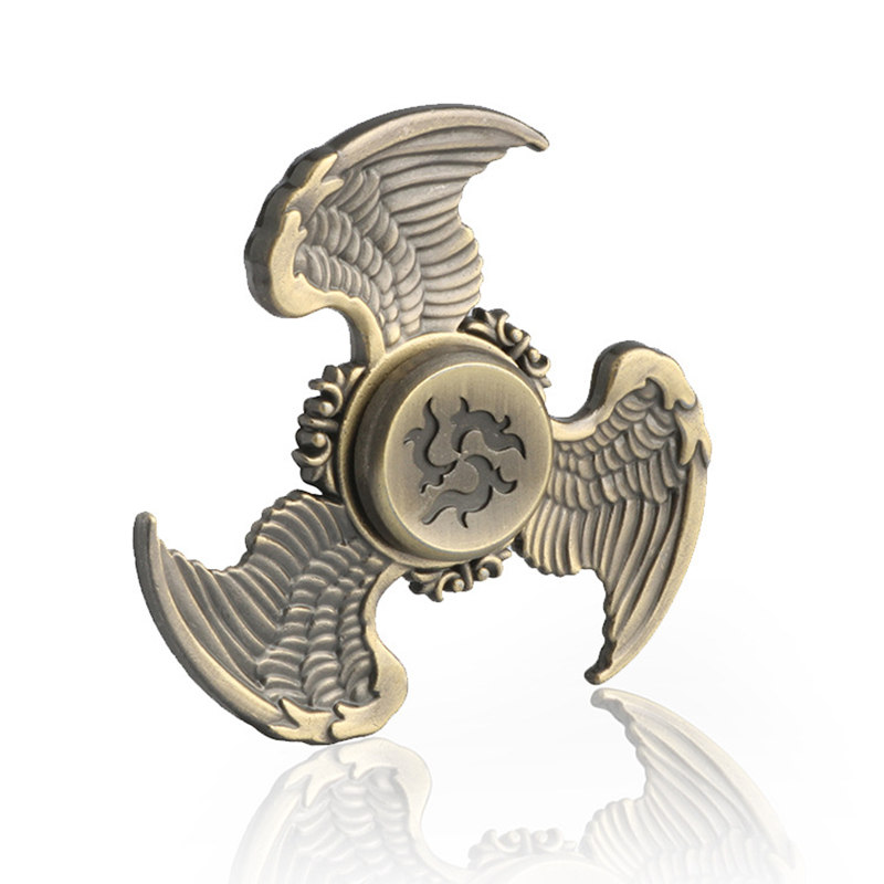 Three Wings Flying Eagle Bronze Fidget Spinner EDC Hand Spinners Autism ADHD Kids Christmas Gifts Metal Finger Toys Spinners