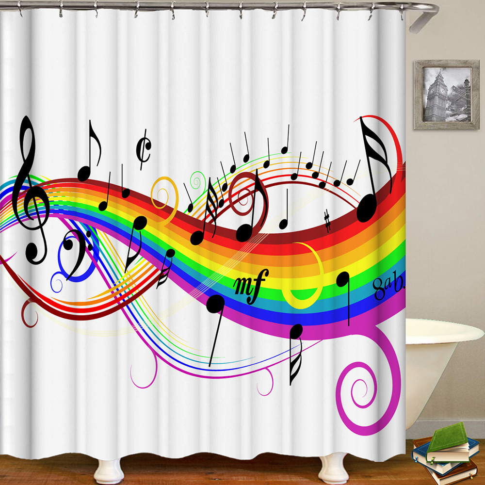 Image 3 - Cortina De Bano Musica Shower Curtain Music Band Jazz Cortina De Ducha Musical Instruments Bathroom Curtain Rock Dance Sound-in Shower Curtains from Home & Garden