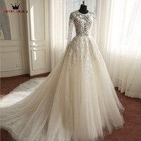 Wedding Dresses A Lin Long Sleeve Lace Tulle Luxury Romantic Vestidos De Noiva Formal Bridal Gown