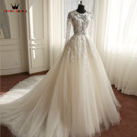 Wedding Dresses A Lin Long Sleeve Lace Tulle Luxury Romantic Vestidos De Noiva Formal Bridal Gown
