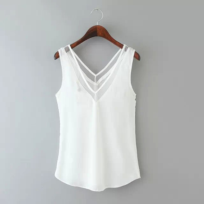 <font><b>2019</b></font> <font><b>Fashion</b></font> Women Summer <font><b>Sexy</b></font> <font><b>Tops</b></font> Chiffon Sleeveless V-Neck Casual Black White Tank Blouse Shirts Party Casual <font><b>Tops</b></font> New image