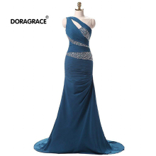 Doragrace robe de soiree One-Shoulder Lace-Up Mermaid Prom Gowns Beaded Evening Dresses