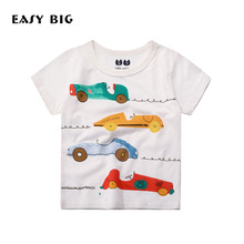 EASY BIG Heights:80-140CM Summer Fashion Printing Unisex Children T-shirts For Boys Short-Sleeved Kids Girls Tops CC0090