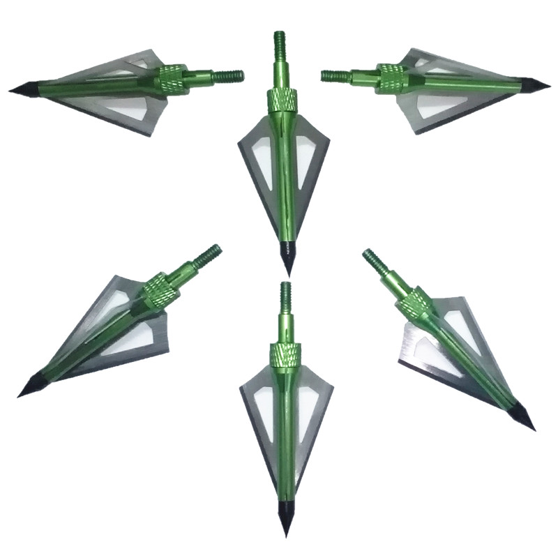 6 Pcs Lot Green 100 Grain 3 Removable Blades Cutting Archery Arrowhead Broadhead Universal Crossbow And Compound Bow Arrow In From Sports