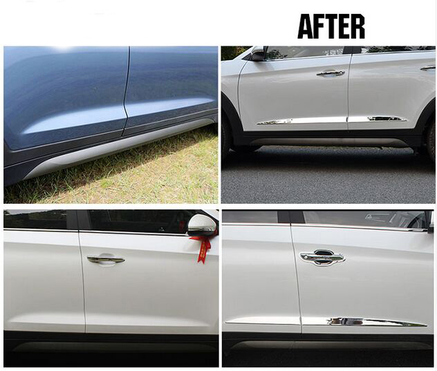 FOR 2015-16 HYUNDAI TUCSON CHROME SIDE DOOR LINING DECORATION BODY MOULDING TRIM BEZEL STYLING COVER PROTECTOR GARNISH car styling abs chrome body side moldings side door decoration for hyundai ix35