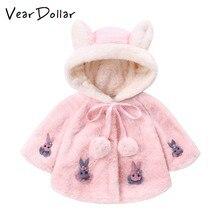 a0d2d22e7eb VearDoller Girls Coat Cute Rabbit Big Ear Hooded Children s Cloak Winter  Warm Baby Girls Clothes Fashion
