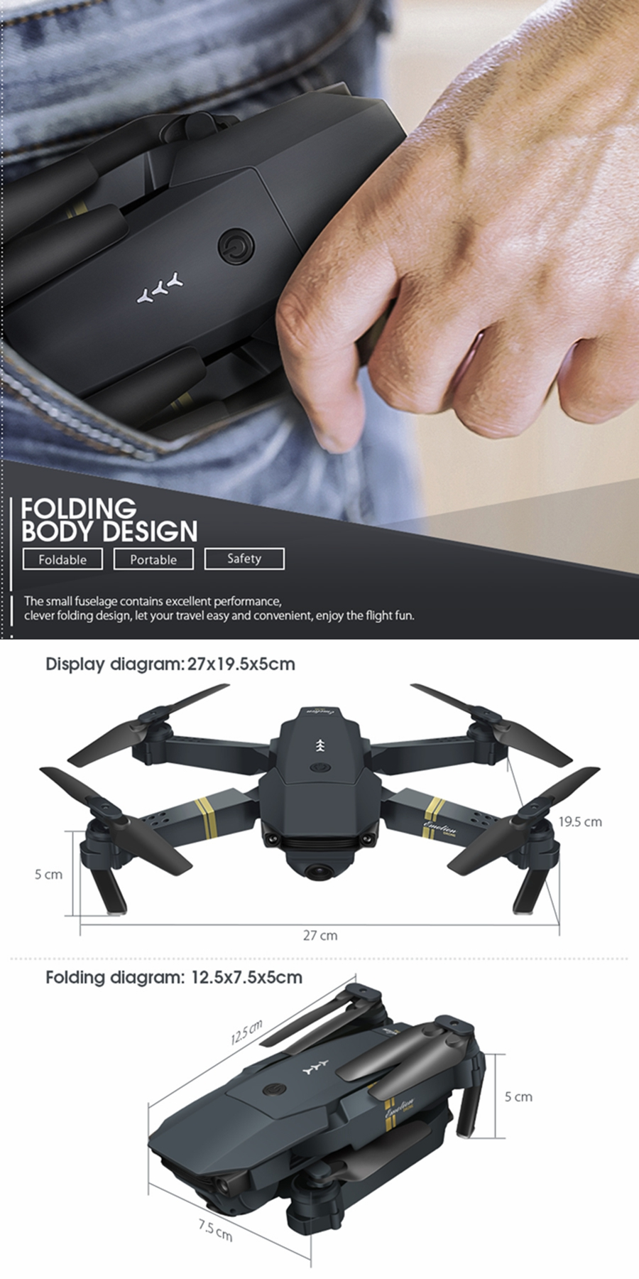 EMOTION DroneX 1080P HD Camera Drone with Bag