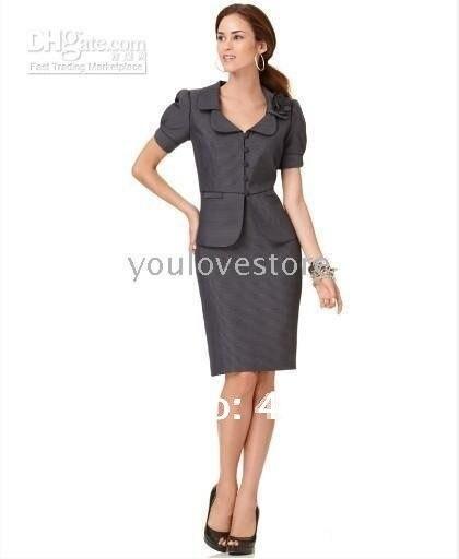 Women's Suits NEW  Suit Puff Sleeve Jacket & Skirt  Popular Dark Gray Women Skirt  489